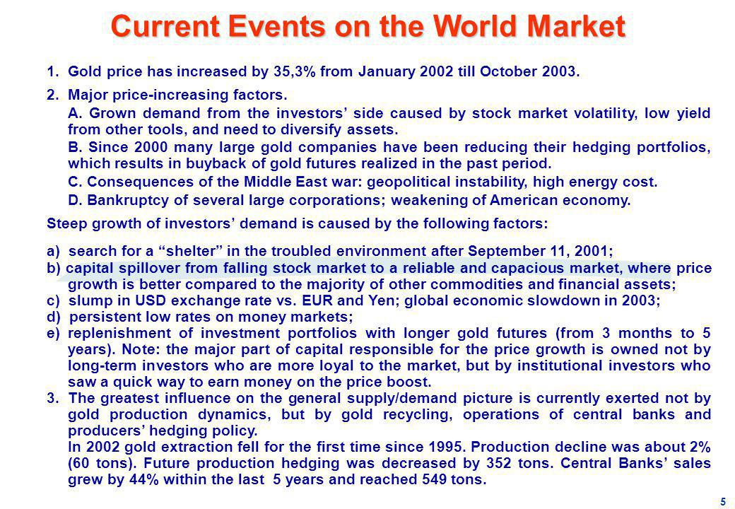 Current Events on the World Market