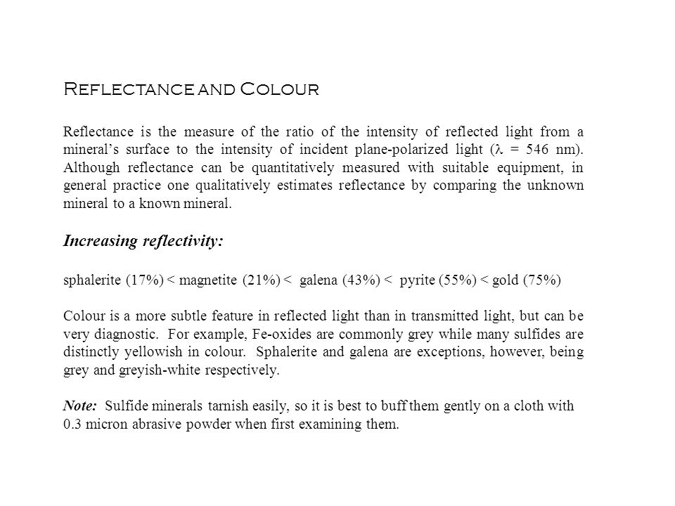 Reflectance and Colour