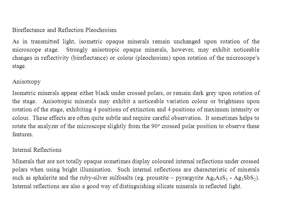 Bireflectance and Reflection Pleochroism