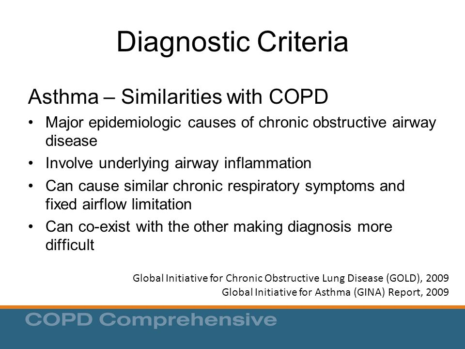 Diagnostic Criteria Asthma – Similarities with COPD