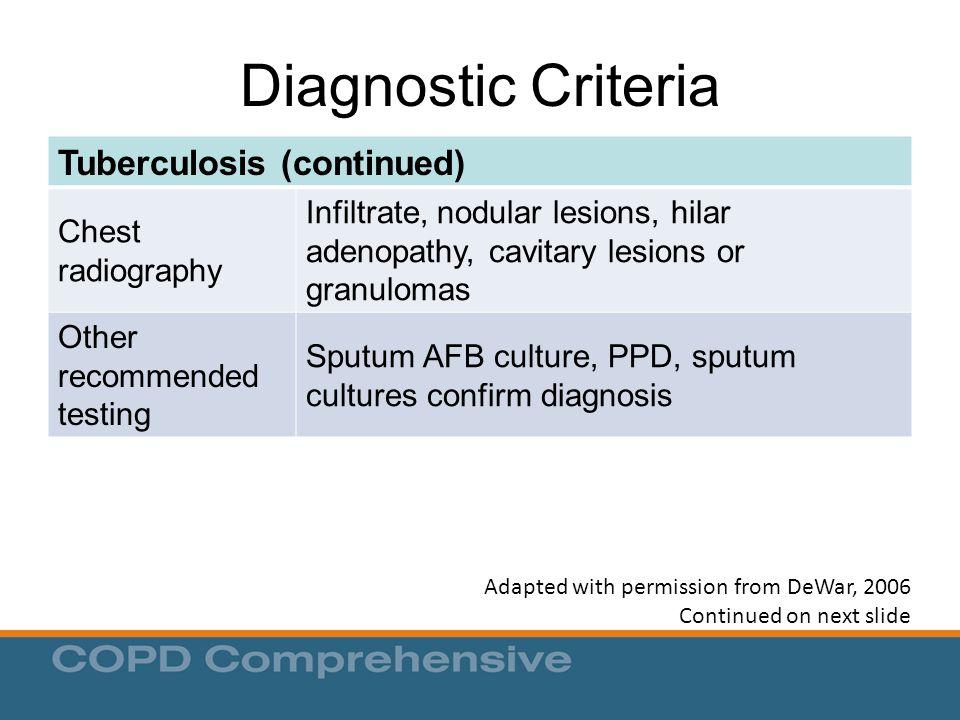 Diagnostic Criteria Tuberculosis (continued)