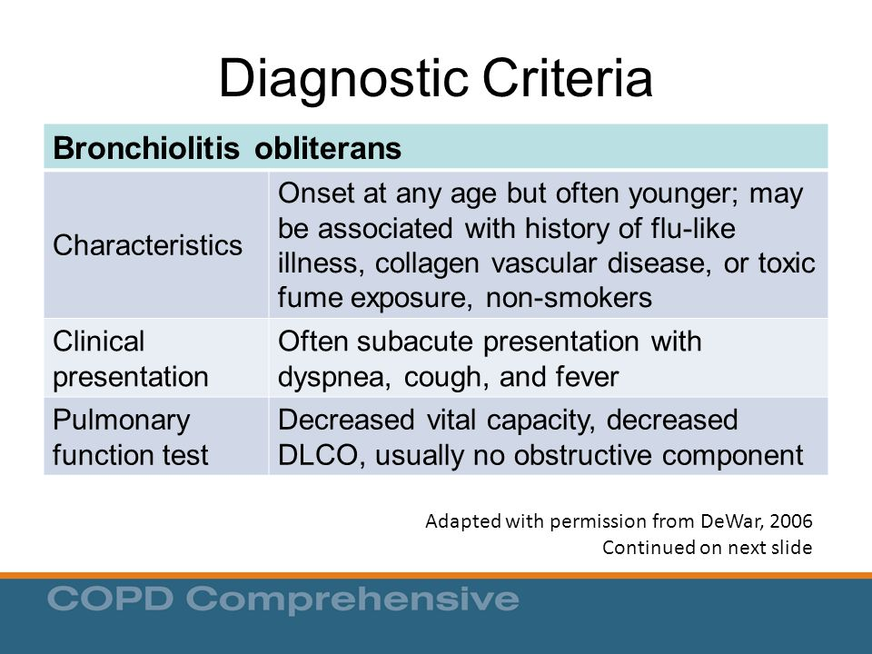 Diagnostic Criteria Bronchiolitis obliterans Characteristics