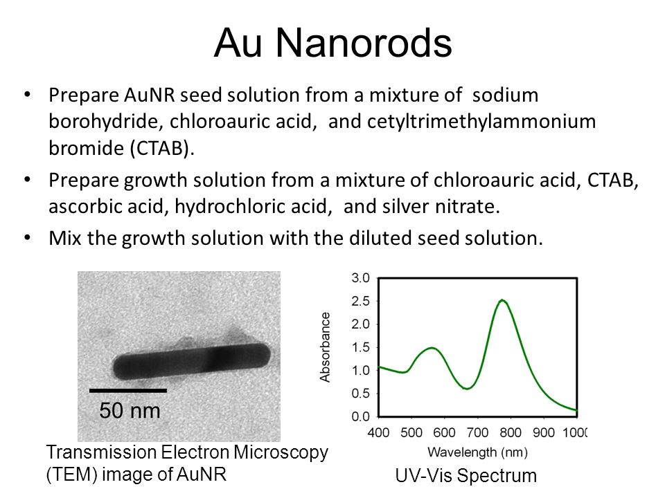 Au Nanorods Prepare AuNR seed solution from a mixture of sodium borohydride, chloroauric acid, and cetyltrimethylammonium bromide (CTAB).