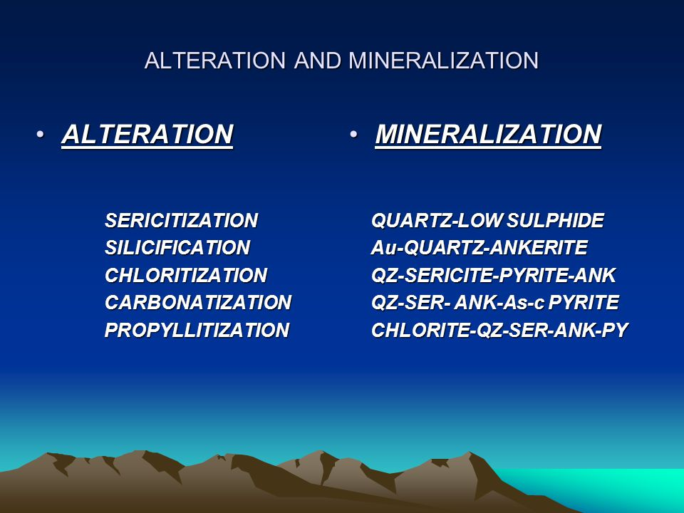 ALTERATION AND MINERALIZATION