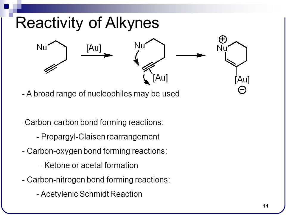 Reactivity of Alkynes A broad range of nucleophiles may be used