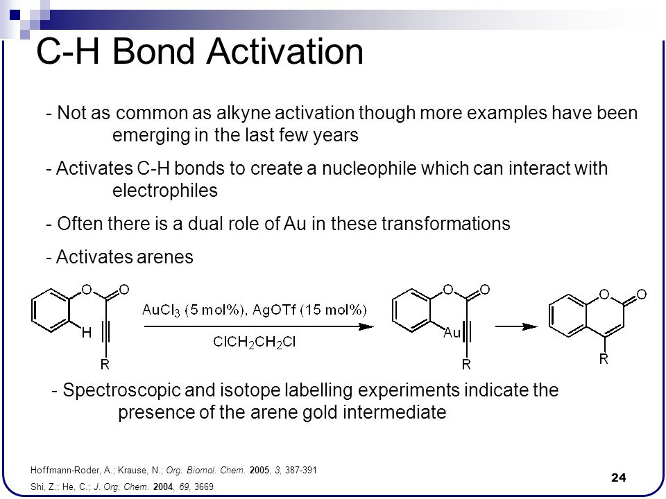 C-H Bond Activation Not as common as alkyne activation though more examples have been emerging in the last few years.