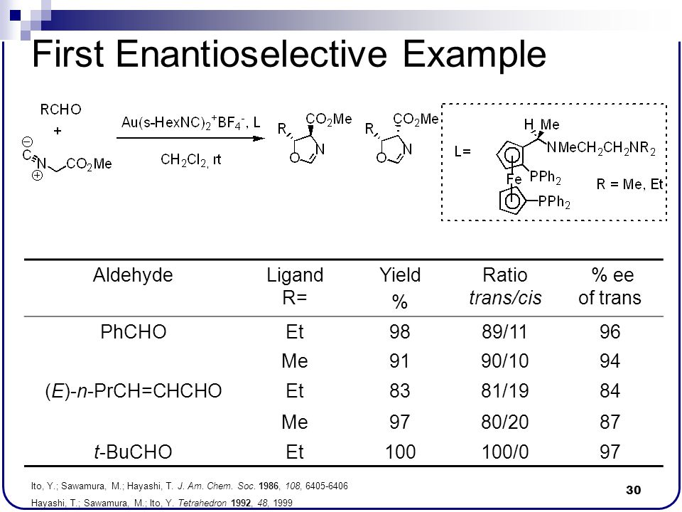 First Enantioselective Example