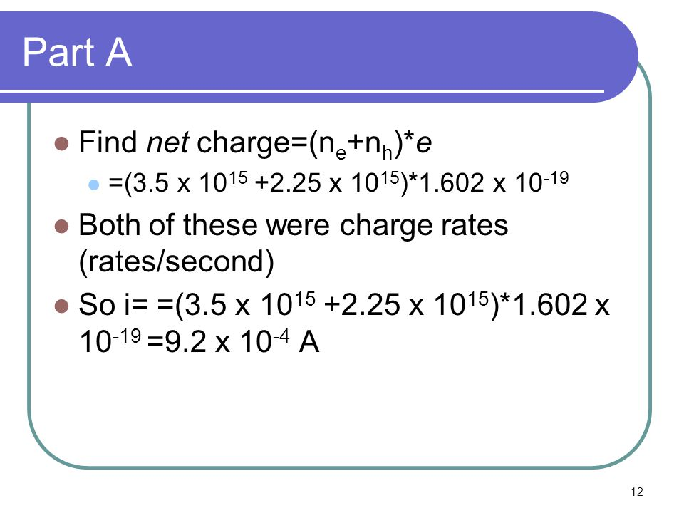Part A Find net charge=(ne+nh)*e