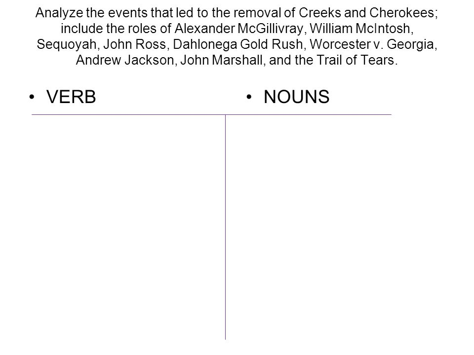 Analyze the events that led to the removal of Creeks and Cherokees; include the roles of Alexander McGillivray, William McIntosh, Sequoyah, John Ross, Dahlonega Gold Rush, Worcester v. Georgia, Andrew Jackson, John Marshall, and the Trail of Tears.