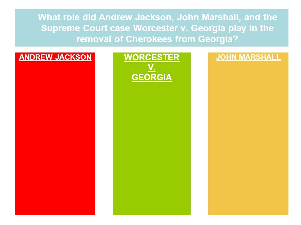 What role did Andrew Jackson, John Marshall, and the Supreme Court case Worcester v. Georgia play in the removal of Cherokees from Georgia