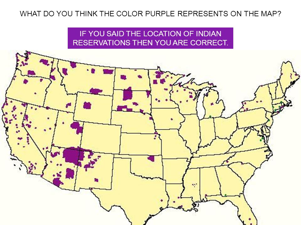 WHAT DO YOU THINK THE COLOR PURPLE REPRESENTS ON THE MAP