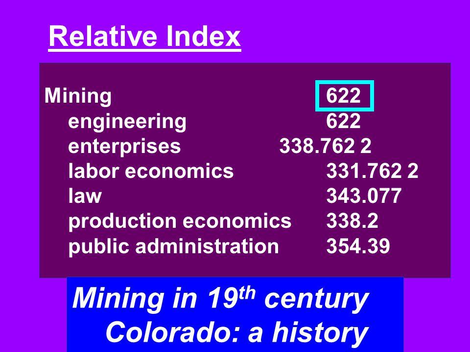 Mining in 19th century Colorado: a history