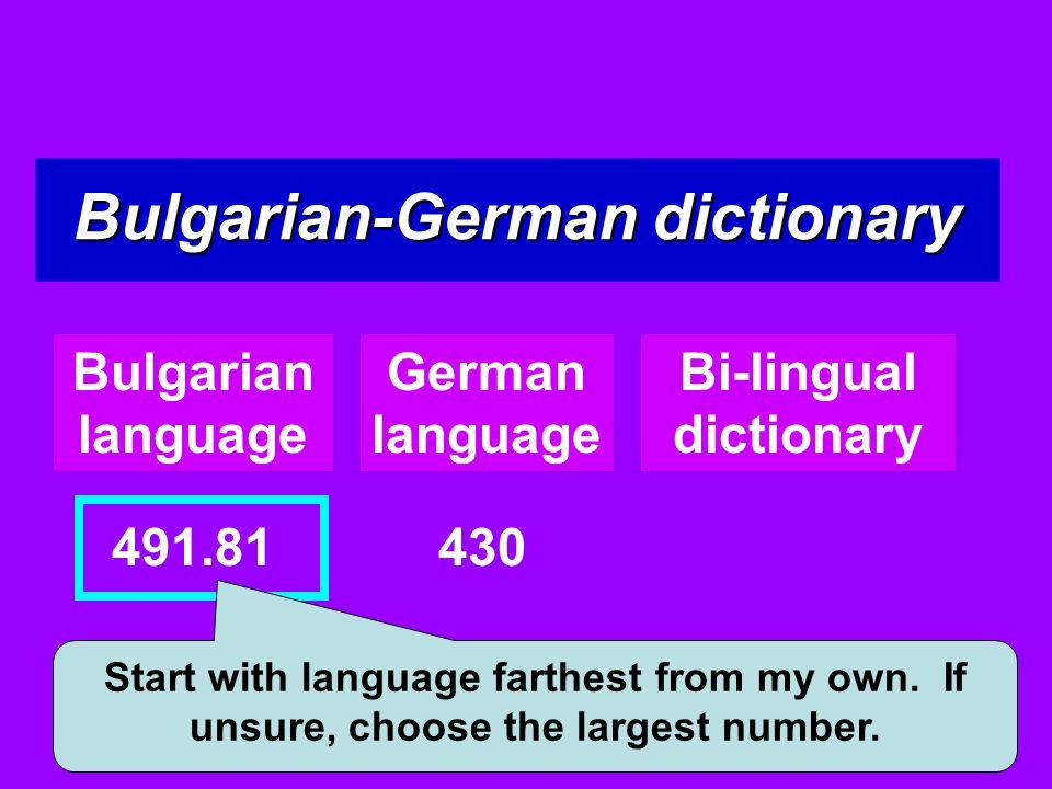 Bulgarian-German dictionary Bi-lingual dictionary