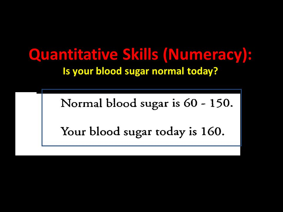 Quantitative Skills (Numeracy): Is your blood sugar normal today