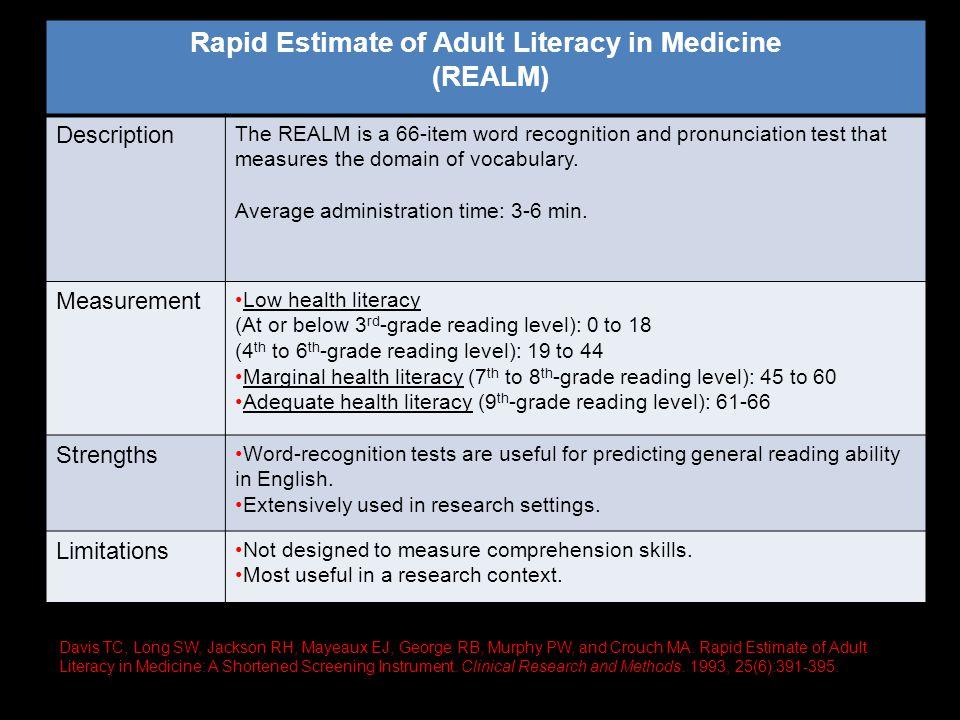 Rapid Estimate of Adult Literacy in Medicine