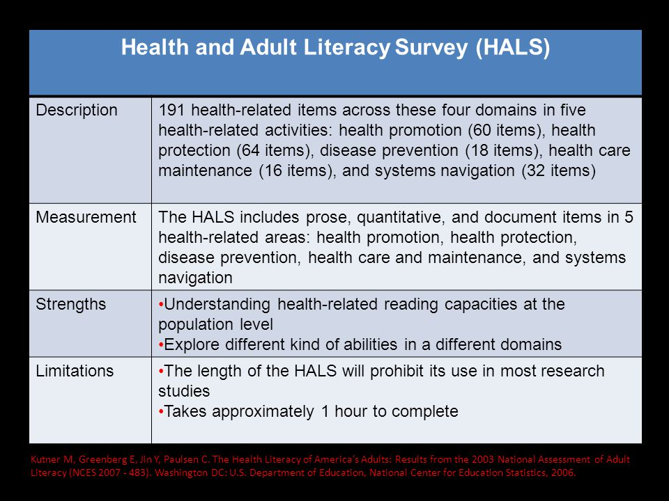 Health and Adult Literacy Survey (HALS)