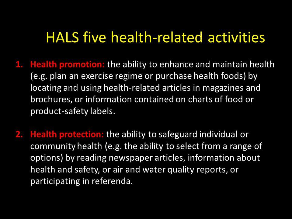 HALS five health-related activities