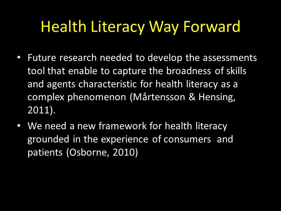 Health Literacy Way Forward