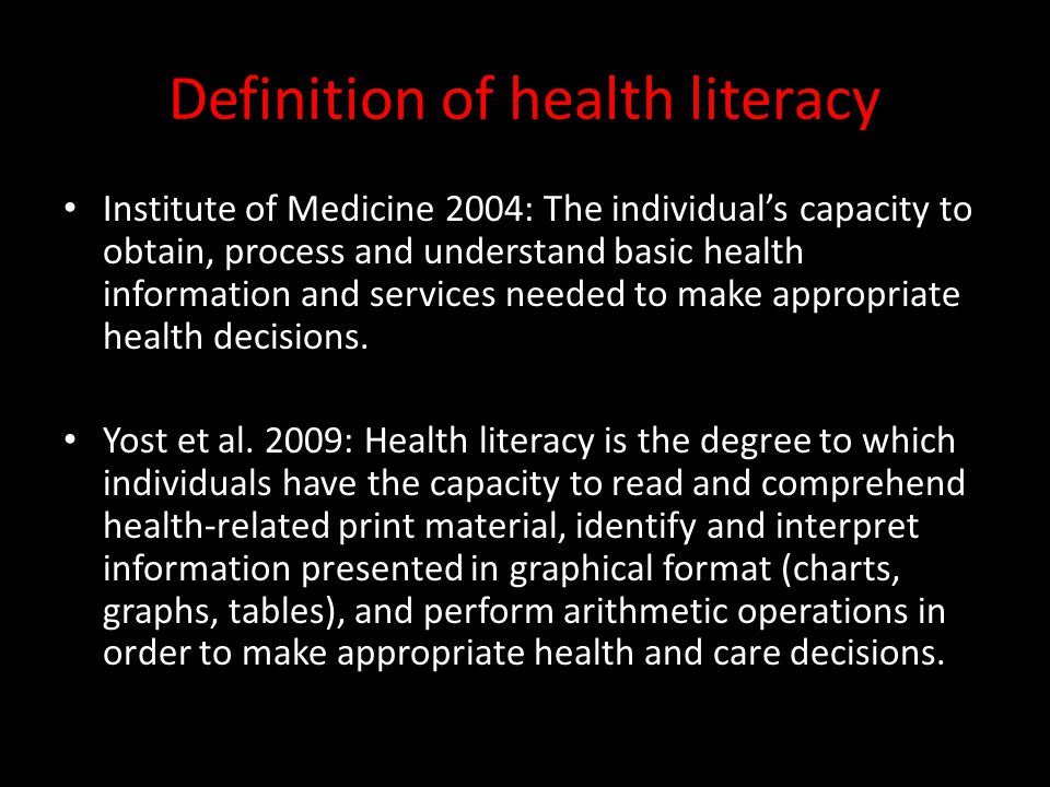 Definition of health literacy