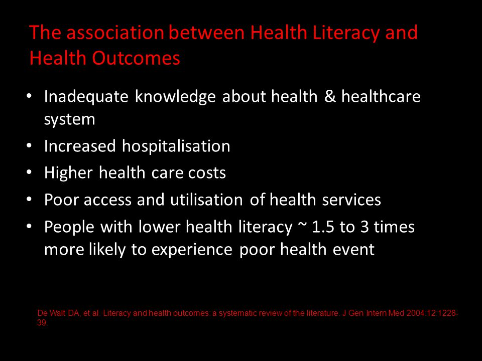 The association between Health Literacy and Health Outcomes