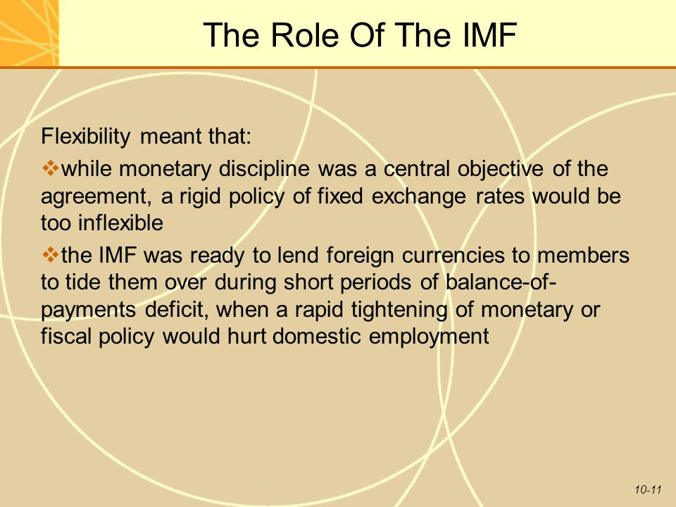 The Role Of The IMF Flexibility meant that: