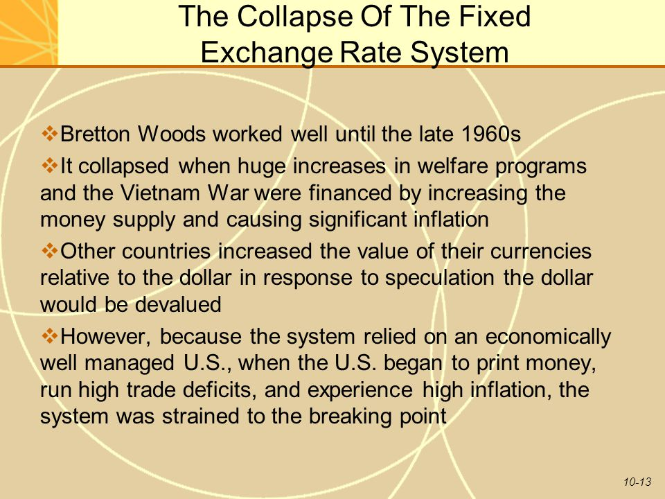 The Collapse Of The Fixed Exchange Rate System