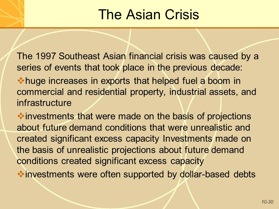 The Asian Crisis The 1997 Southeast Asian financial crisis was caused by a series of events that took place in the previous decade: