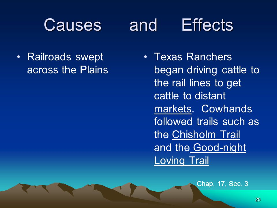 Causes and Effects Railroads swept across the Plains