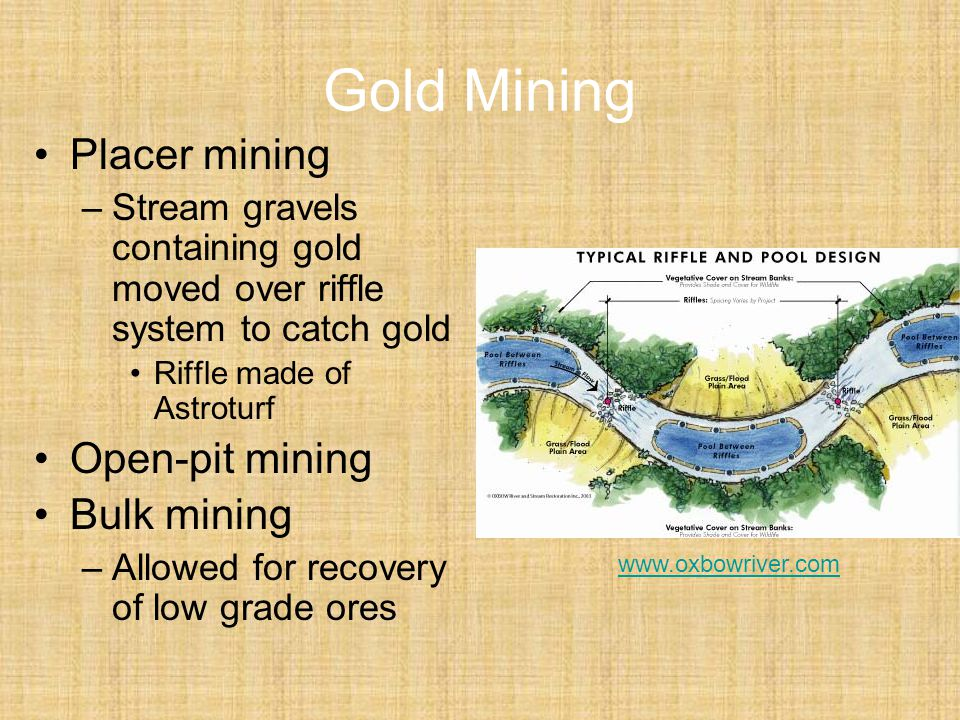 Gold Mining Placer mining Open-pit mining Bulk mining