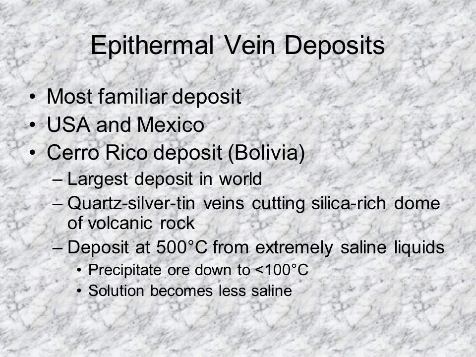 Epithermal Vein Deposits