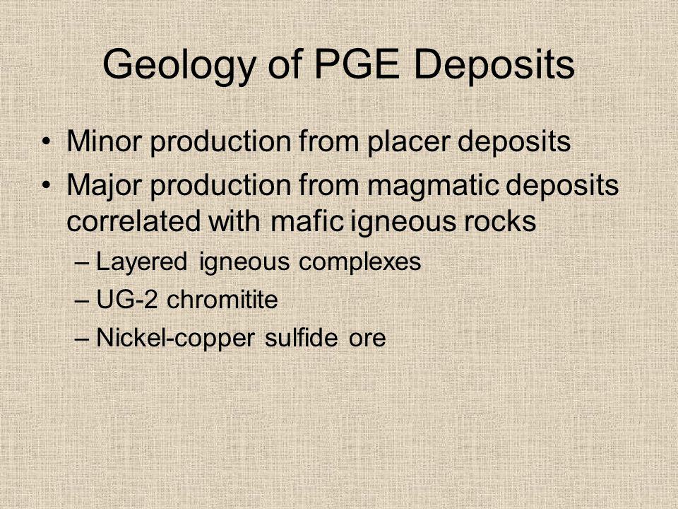 Geology of PGE Deposits