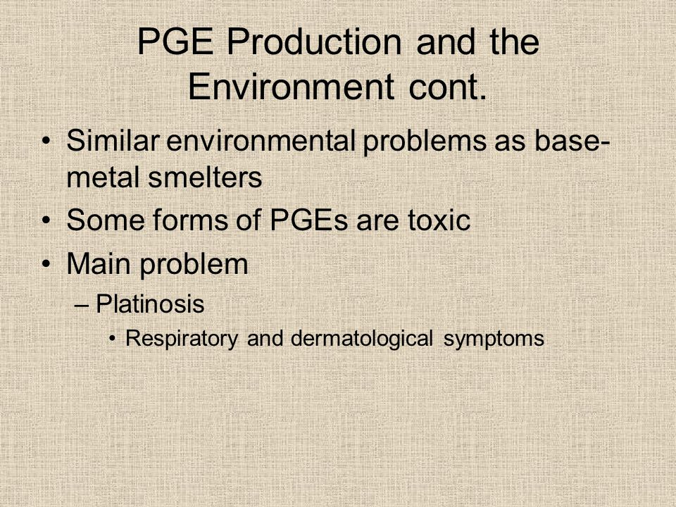 PGE Production and the Environment cont.