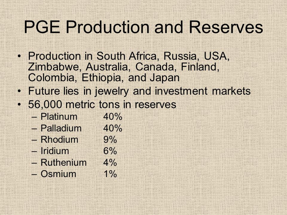 PGE Production and Reserves