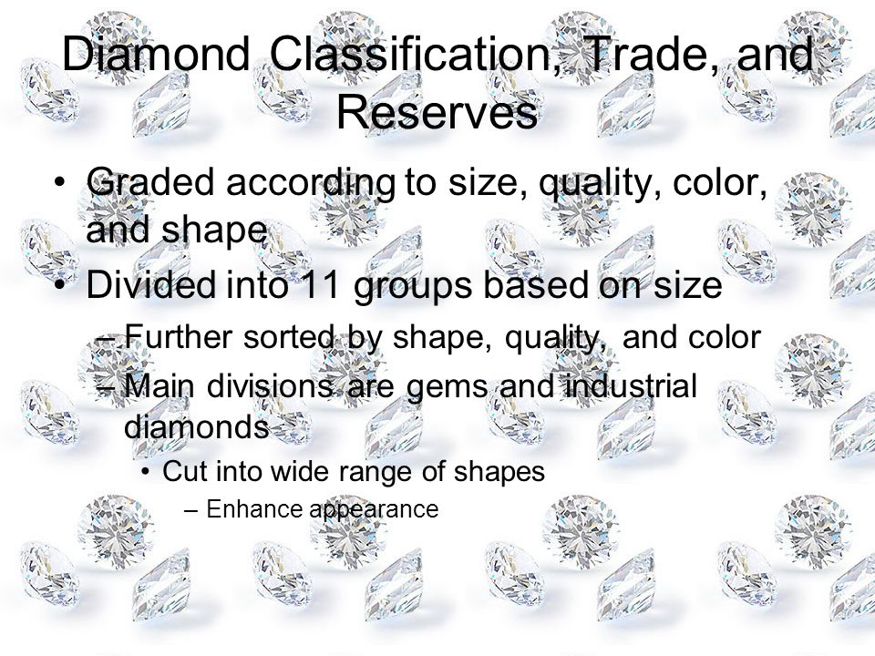 Diamond Classification, Trade, and Reserves
