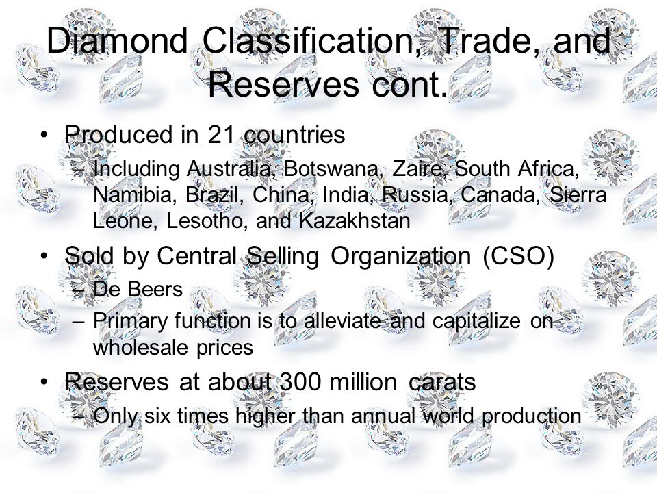 Diamond Classification, Trade, and Reserves cont.