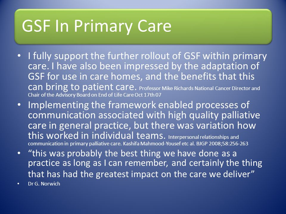 GSF In Primary Care
