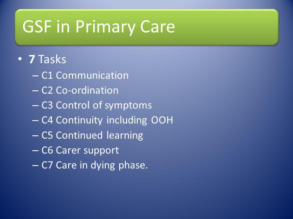7 Tasks C1 Communication C2 Co-ordination C3 Control of symptoms