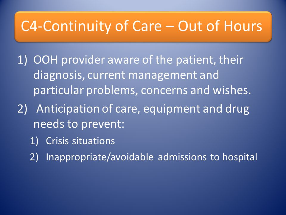 Anticipation of care, equipment and drug needs to prevent: