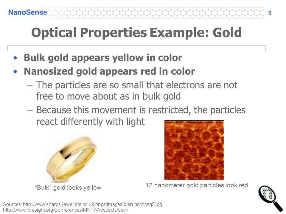 Optical Properties Example: Gold