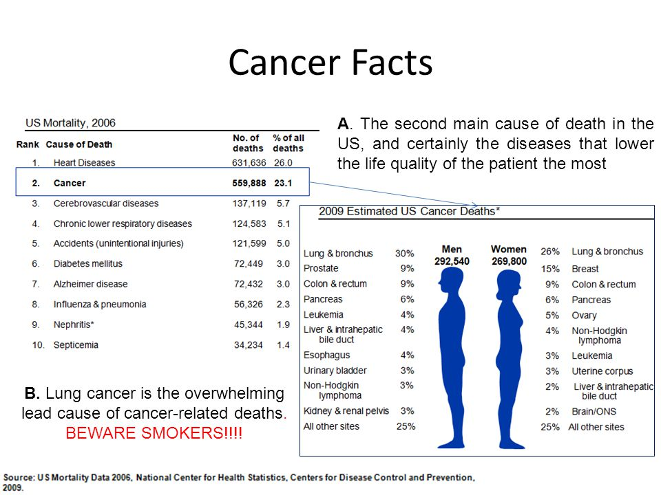 Cancer Facts A. The second main cause of death in the US, and certainly the diseases that lower the life quality of the patient the most.