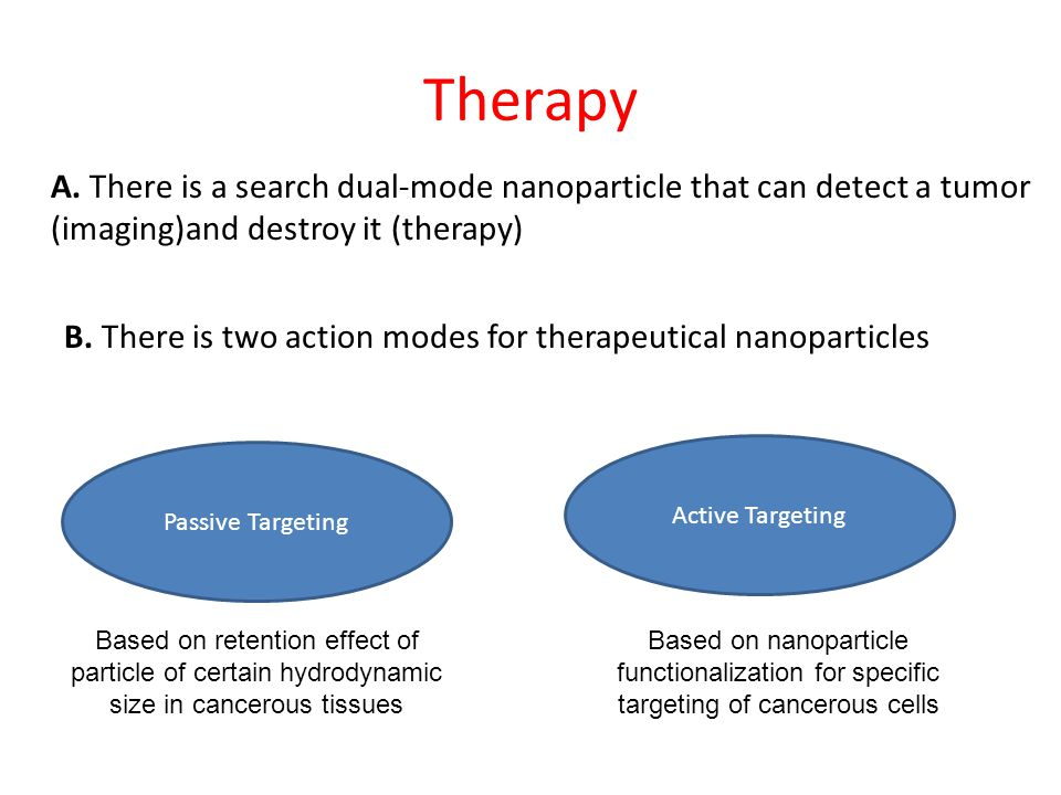 Therapy A. There is a search dual-mode nanoparticle that can detect a tumor (imaging)and destroy it (therapy)