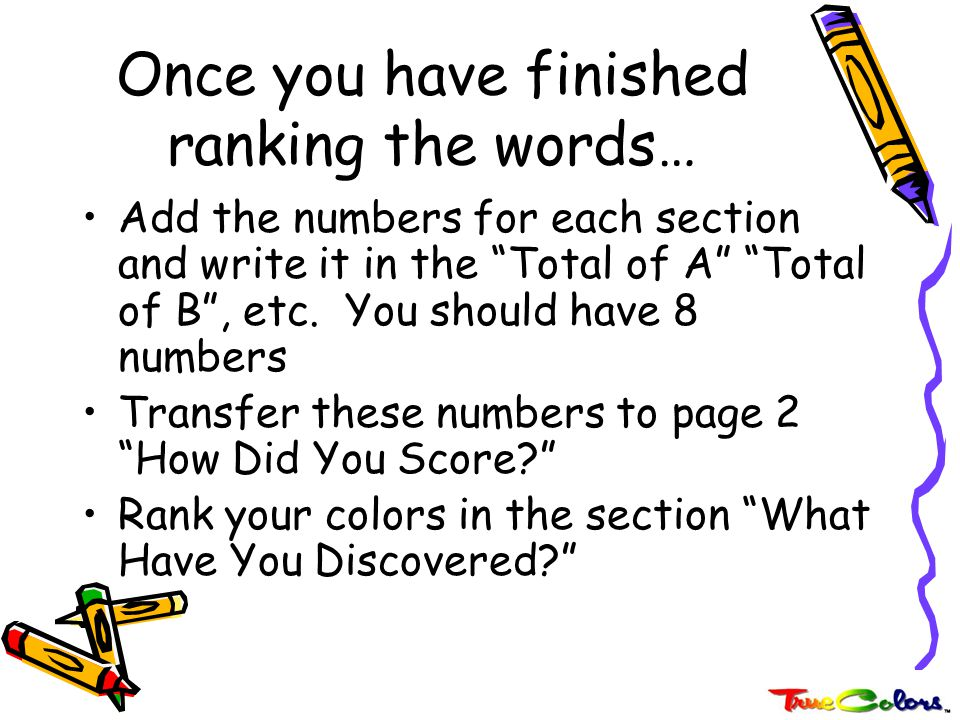 Once you have finished ranking the words…