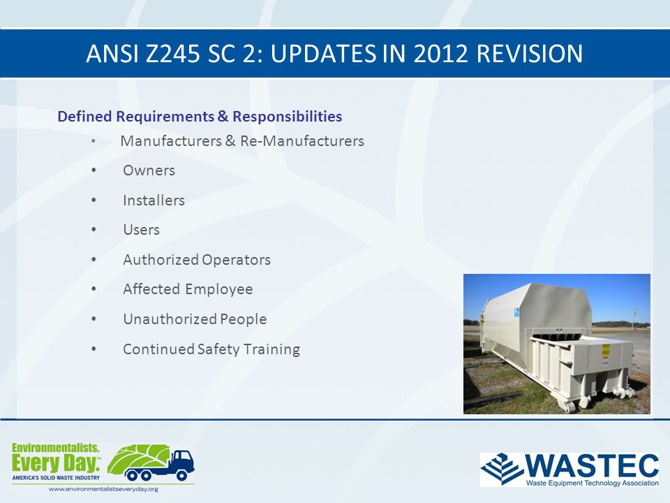 ANSI Z245 SC 2: Updates in 2012 revision