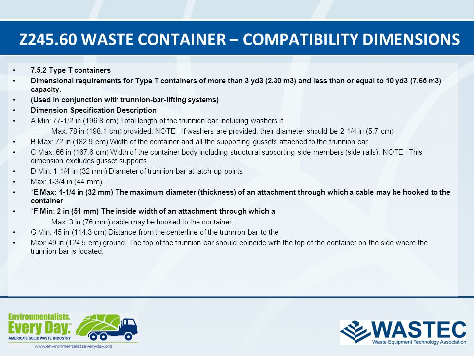 Z245.60 Waste Container – Compatibility Dimensions