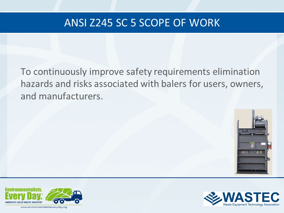 ANSI Z245 SC 5 Scope of work