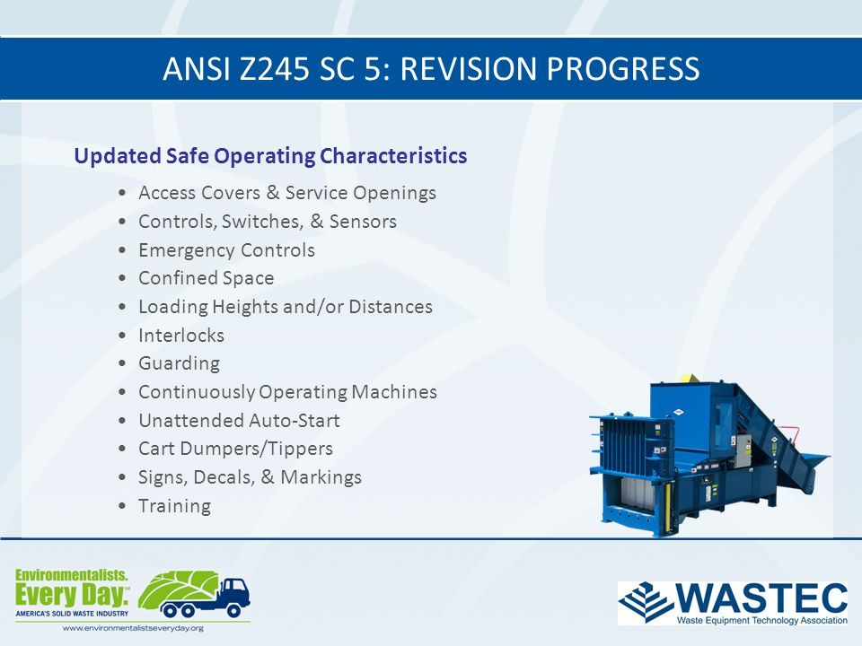 ANSI Z245 SC 5: revision progress