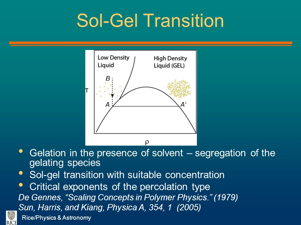 Sol-Gel Transition Gelation in the presence of solvent – segregation of the gelating species. Sol-gel transition with suitable concentration.