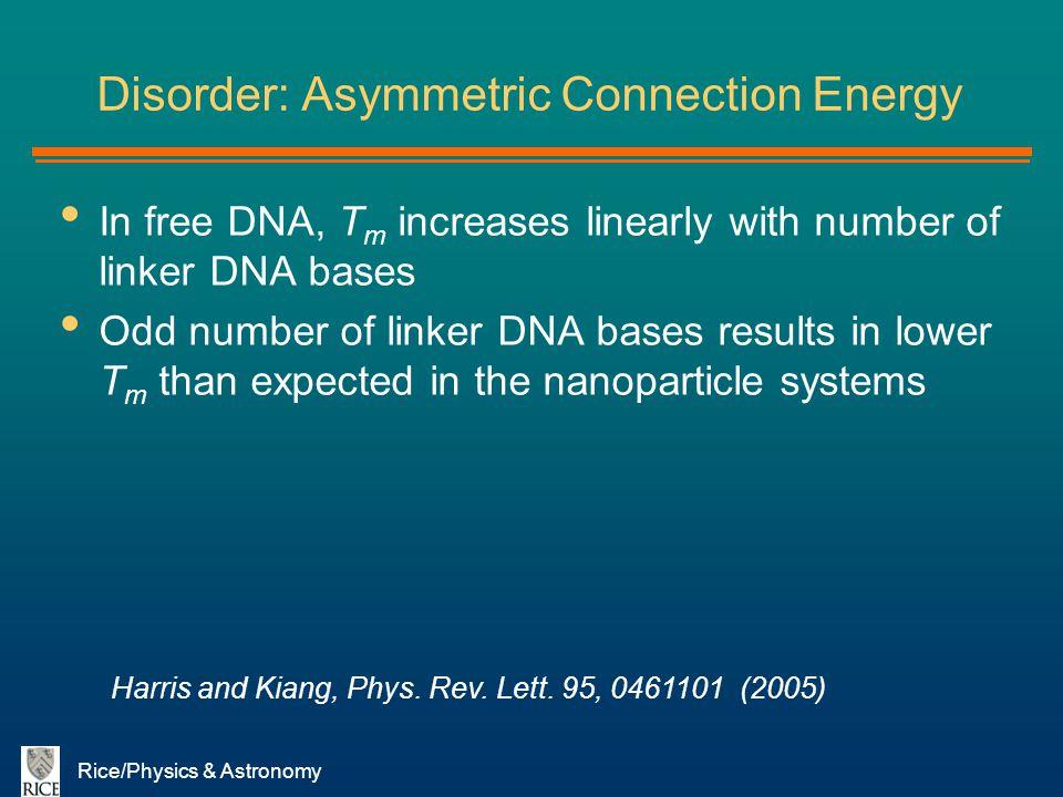 Disorder: Asymmetric Connection Energy