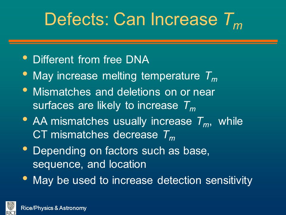 Defects: Can Increase Tm