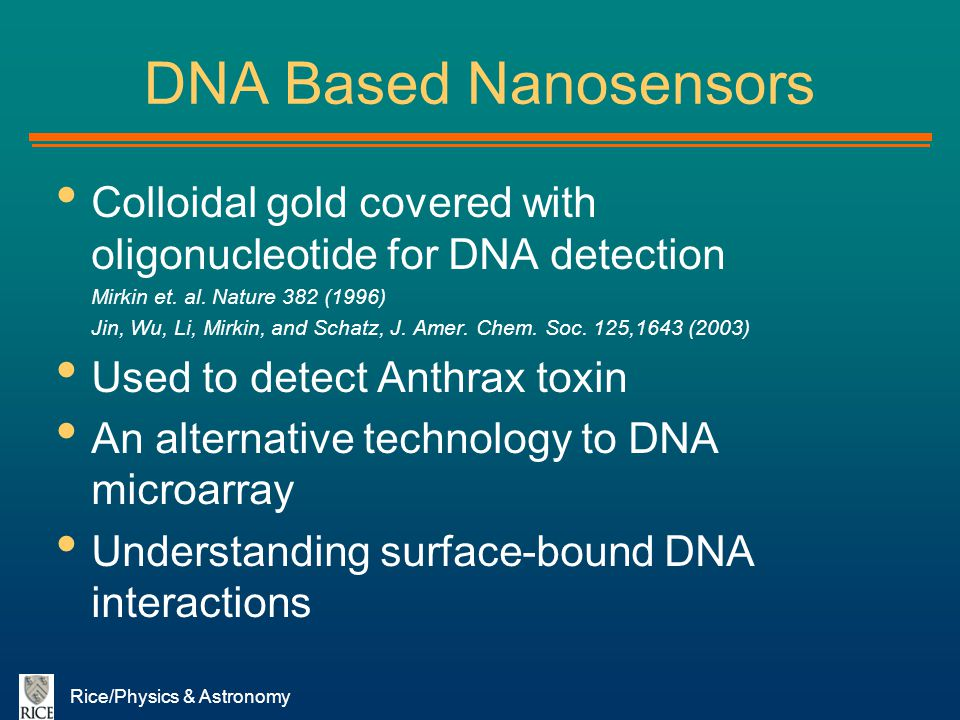 DNA Based Nanosensors Colloidal gold covered with oligonucleotide for DNA detection. Mirkin et. al. Nature 382 (1996)